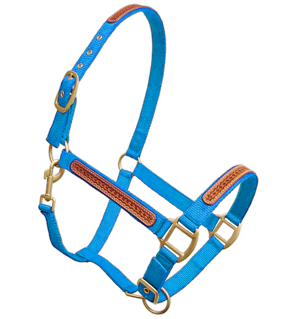 weaver nylon horse halters with leather overlay